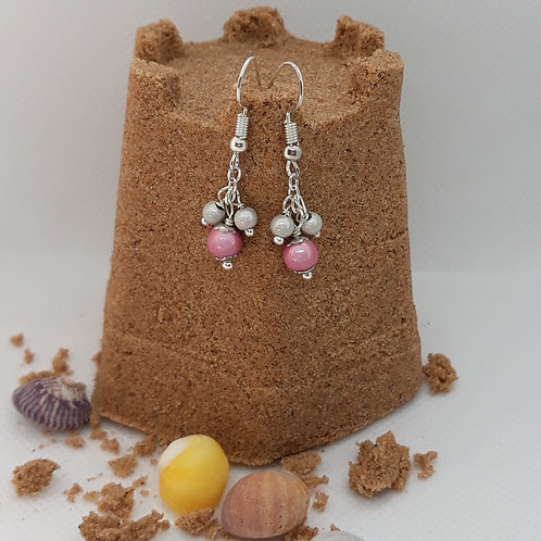 Pink and silver miracle bead drops