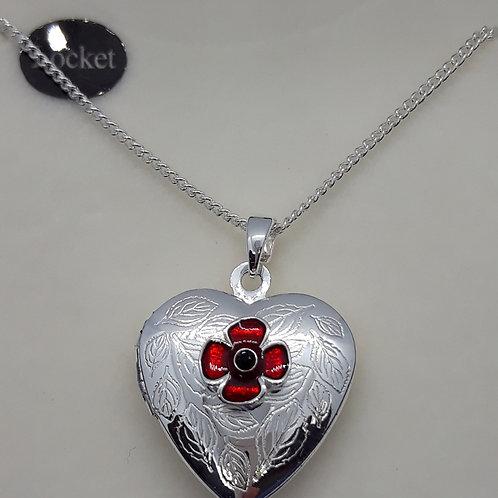 Heart locket with poppy