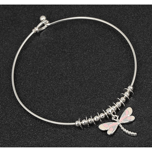 Hand painted pink dragonfly bangle