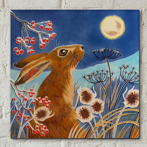 Ceramic tile, Frost Moon hare