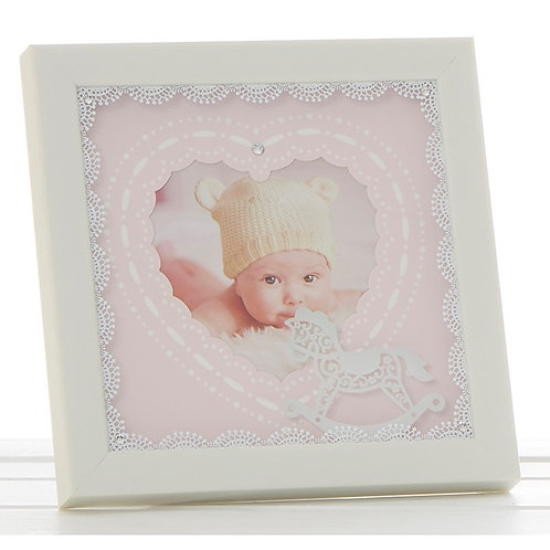 Cream lace baby girl frame