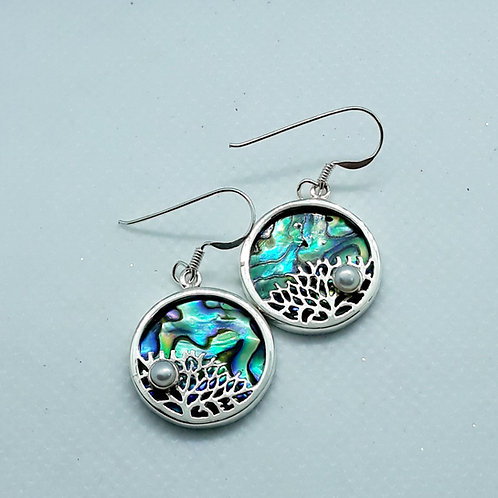 Sterling silver Abalone and pearl earrings