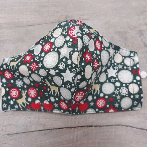 Christmas fabric facemask, Medium with nose wire