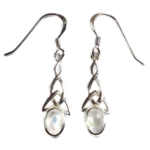 Silver celtic knot drops with moonstone