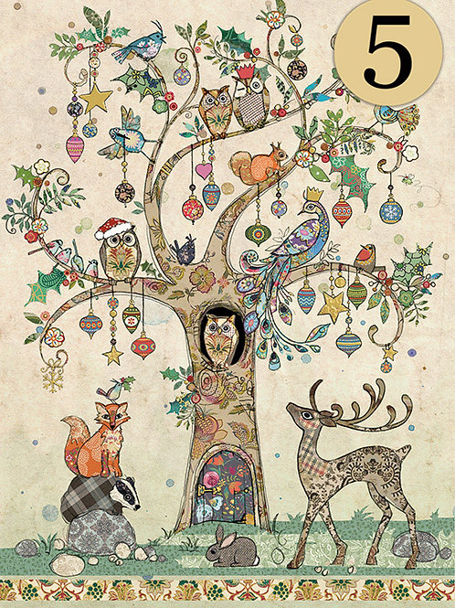 Festive tree card from BugArt, 5 pack