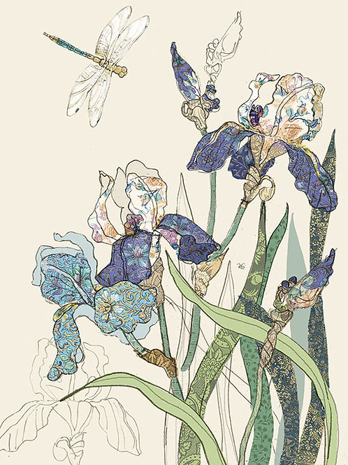 Blue Iris with dragonfly card