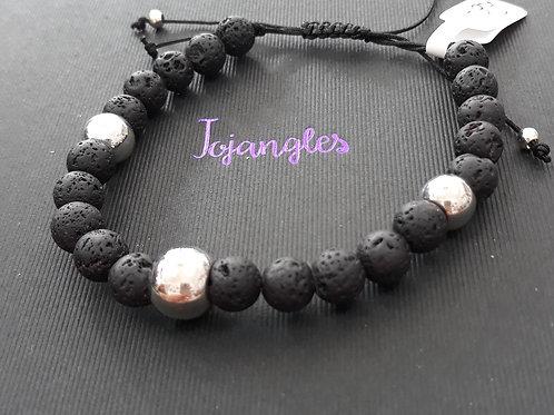 Man's extenable lava bead bracelet