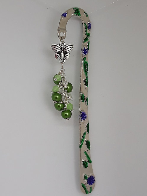 Enamel bookmark with butterfly and green beads
