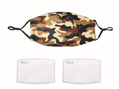 Camouflage pattern face mask with filters M/L