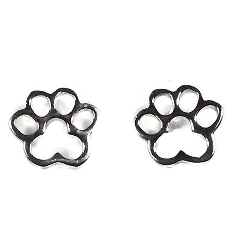 Silver pawprint studs