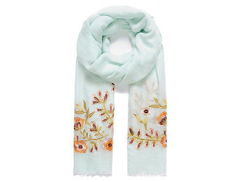 Light green floral embroidered scarf