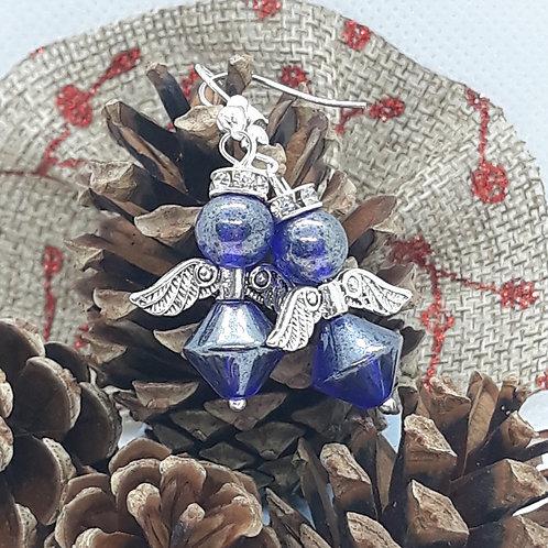 Mottled blue beaded angle drops