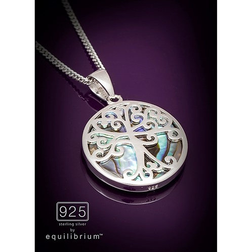 Sterling silver tree of life necklace with Paua shell