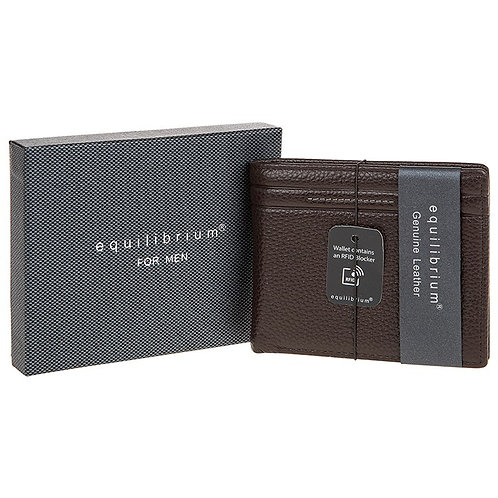 Brown embossed Leather wallet with RFID