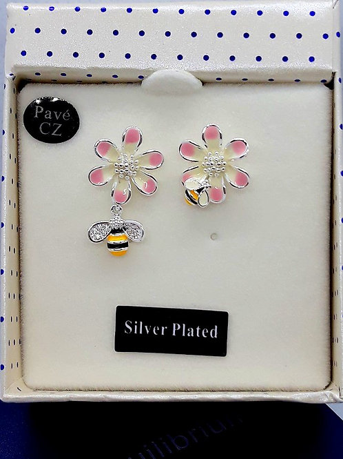 Bee and flower studs