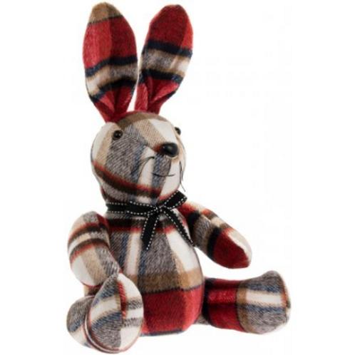 Tartan rabbit doorstop