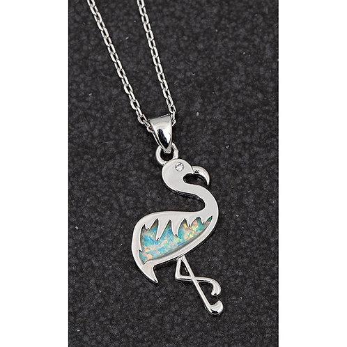 Opalescent flamingo necklace