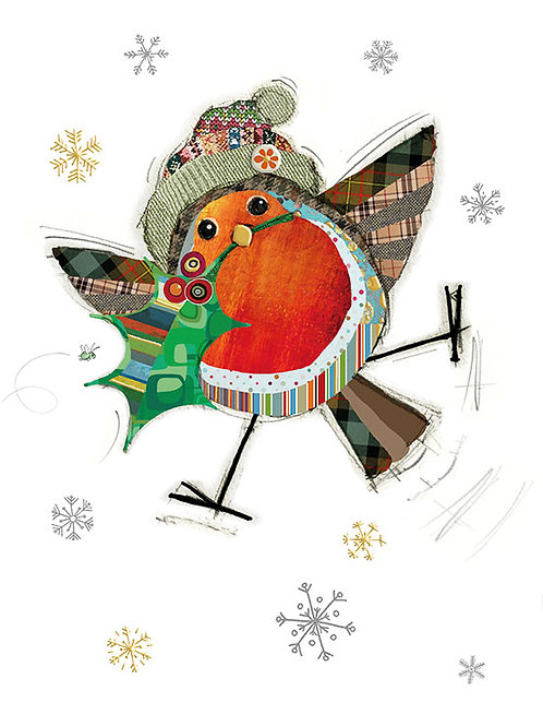 Robin with Holly card