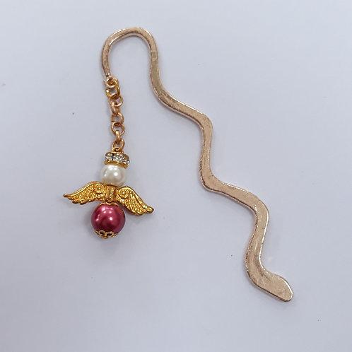 Wavy bookmark with beaded angel