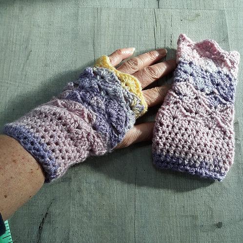 Multi colour fingerless gloves
