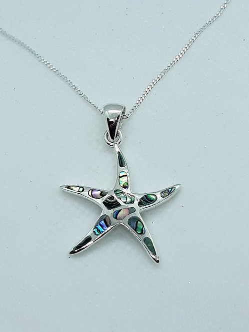 Sterling silver Abalone starfish necklace