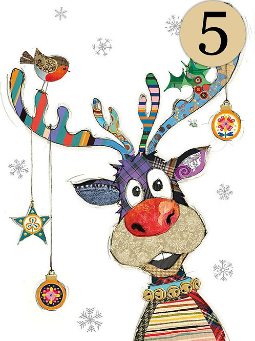 Reindeer bauble card pack of 5