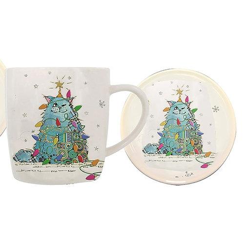 Christmas cat mug and coaster set from Bug Art