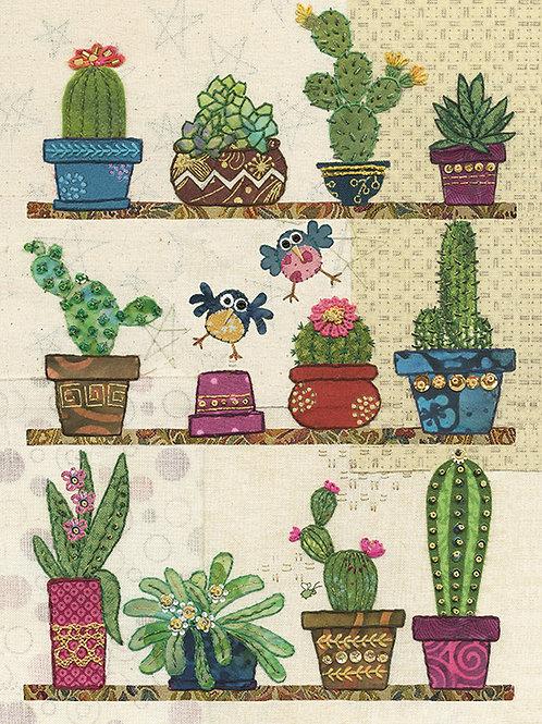 Cacti and birds card