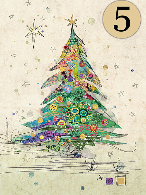 Painted Christmas tree cards, 5 pack