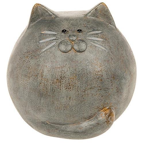 Rustic grey round cat ornament