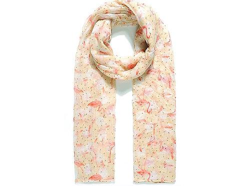 Caramel scarf with Flamingo print