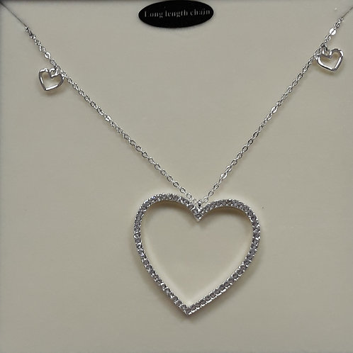 Long length necklace with sparkly heart