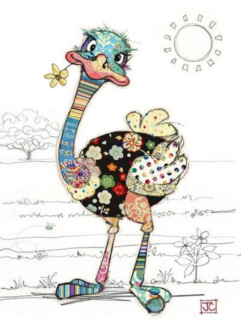 Ozzie Ostrich greeting card