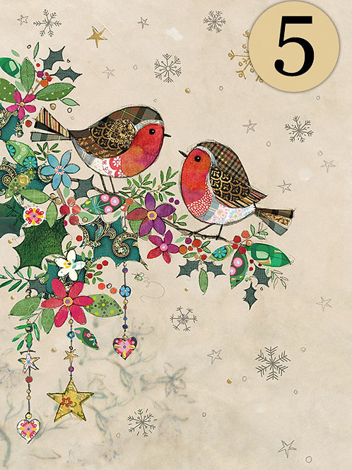 Christmas Robins cards, 5 pack