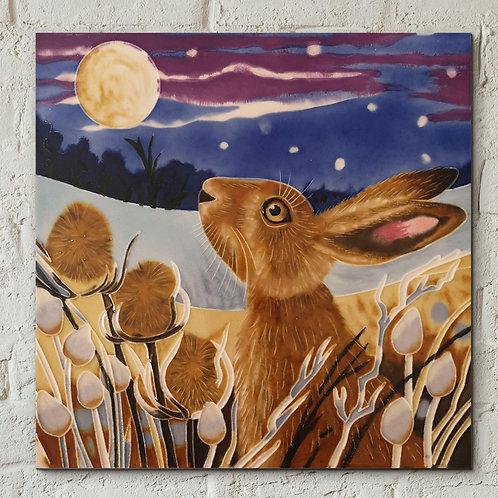 Ceramic tile, Moon gazing hare