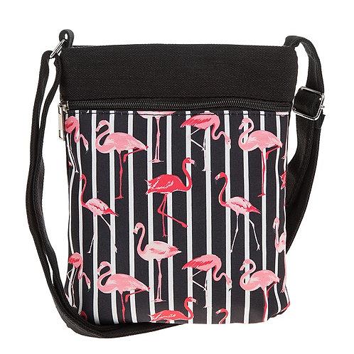 Flamingo Flat shoulder bag, black