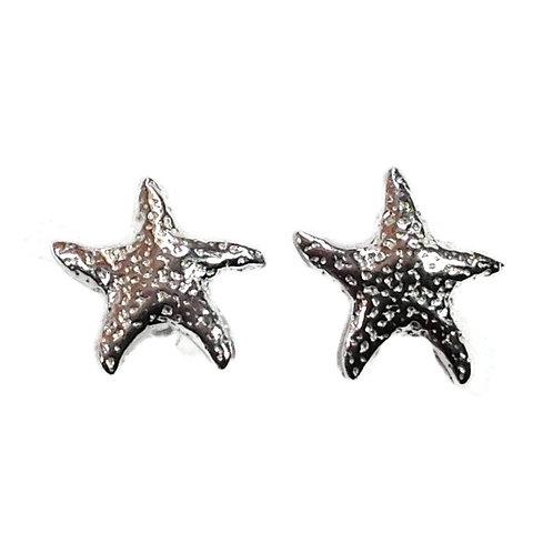 Silver textured starfish studs