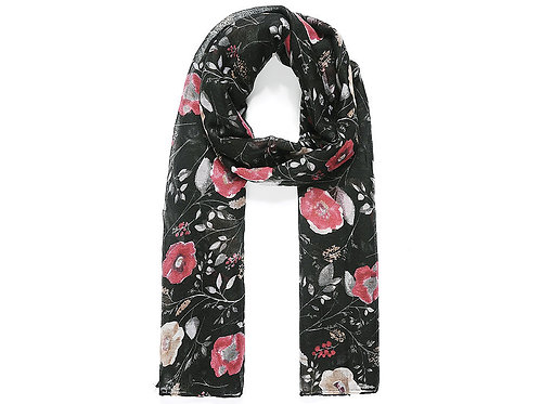 Flower scarf with black background