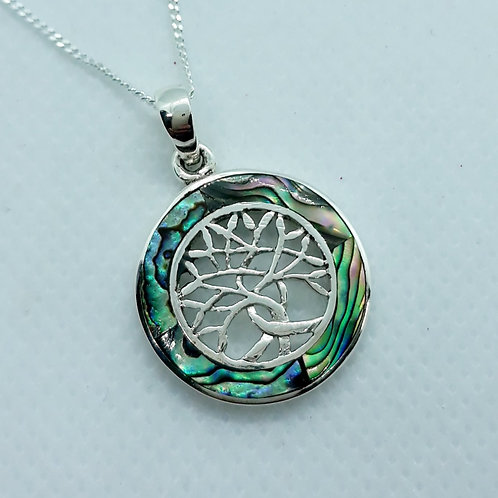 Sterling silver tree of life abalone necklace