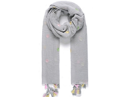 Grey embroidered dot scarf