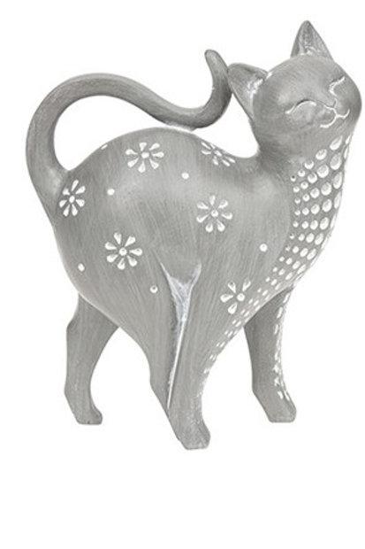 Grey cat ornament Facing right 17cm