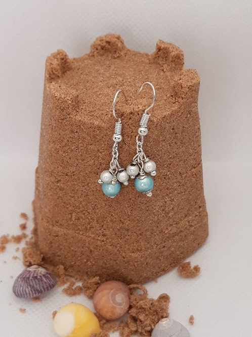 Pale blue and silver miracle bead drops