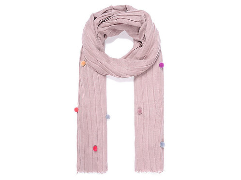 Pink crinkle scarf with pompoms