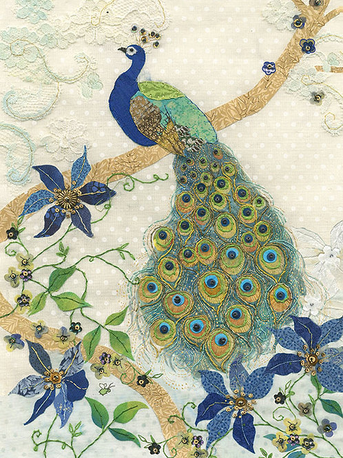Peacock with Clematis card
