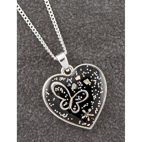 Midnight sparkle heart necklace