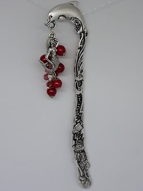 Dolphin bookmark with mermaid and red beads