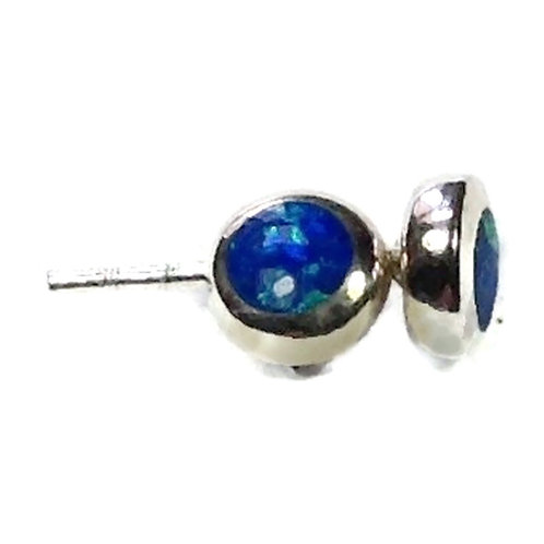 Silver created opal studs