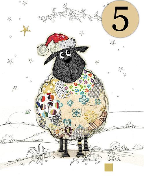 Santa Sheep cards, 5 pack