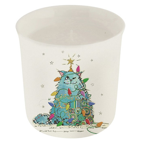 Christmas cat pot with candle