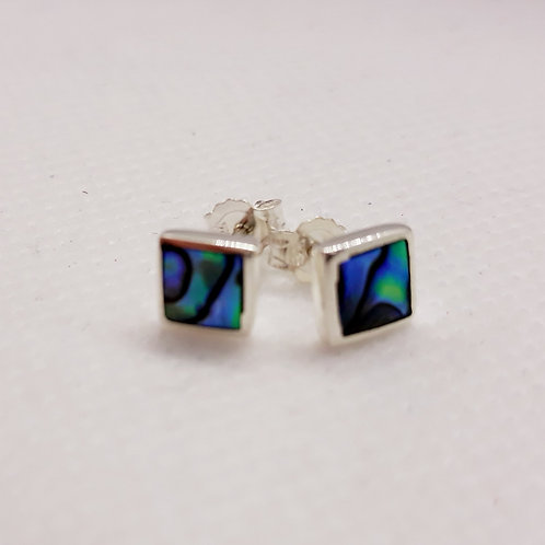 Sterling silver square abalone studs